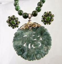 Vintage Chinese Sterling Silver & Natural Jade Pendant Necklace & Earrings Set