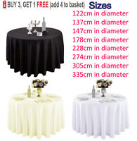 Round Circle Tablecloth Polyester Table Cloth Cover Wedding Party Tableware