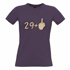 30th Birthday Womens TShirt 29 plus 1 gesture Rude Middle Finger Age Joke
