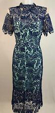 CARLA RUIZ • Blue Guipure Lace High Neck Sweetheart Dress • Size 12 • RRP £269