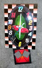 Red Race Car Battery Operated Wall Art Clock