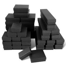 4 Sizes Matte Black Cotton Filled Jewelry Cardboard Boxes Lots of 12-24-48-72-96