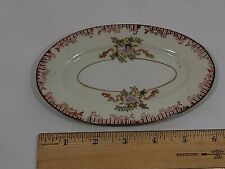 "Japan Vintage Porcelain Miniature Tea Set Platter  3 3/4"" x 6 1/4"" Floral & Red"