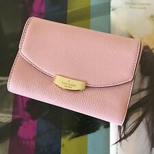 Kate Spade Rose Jade Pink Leather Mulberry Street Callie French Purse Wallet NWT