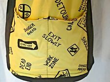 Vintage Retro Cycling Jersey Street Traffic Signs Yellow Black Adult Medium
