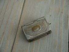 NICE ANTIQUE SILVER PLATED BOOK FORM COMBINATION STAMP MATCH SAFE VESTA CASE
