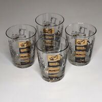 Vintage Tumbler Highball Drinking Glasses Industrial Foundry Steel Mill Set Of 4