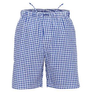 Ritzy Men's Sleep Short Pajama 100% Cotton Woven Plaid ComfortSoft - B&W Checks