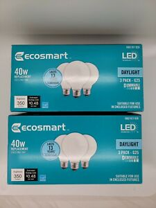 Lot of 2 - EcoSmart 40W Equivelent Daylight G25 Globe LED Light Bulb 3 Pack