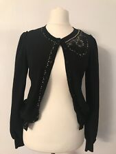 Moschino Ladies Embellished Black Cardigan Size 12