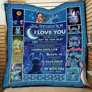 Lilo And Stitch To Amazing Daughter Disney Movies Blanket Cartoon Bedding Fam...