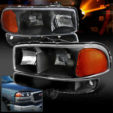 1999-2006 GMC Sierra Yukon Black Headlights+Bumper Signal Lights Left+Right 4PC