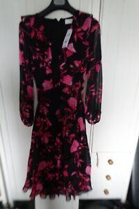Wallis petite tie front pink floral ruffle midi shift dress size UK 8 retail £60