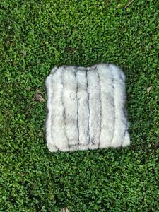 """18x18"""" Upcycled White Silver Fox Fur Pillow, recovered from a fox fur coat"""