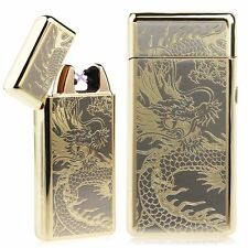 Gold Dragon USB Rechargeable Dual Arc Flameless Windproof Electric Lighter Small