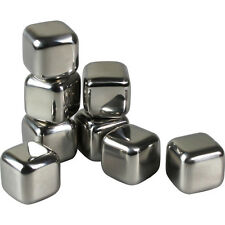 8PC Stainless Steel Ice Cubes Chilling Stones Rocks Reusable with Tong