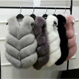 Women's Faux Fur Vest Waistcoat Gilet Warm Sleeveless Casual Coat Fluffy Outwear