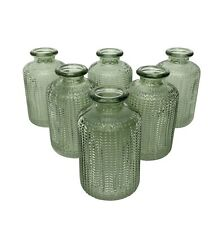 Sets of Ribbed Green Glass Bottles Small Bud Vase Vintage Style Wedding Table