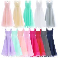 Girl Kid Flower Party Princess Formal Wedding Bridesmaid Gown Long Dress 4-14