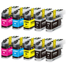 10PK LC203 XL High Yield Compatible Ink Cartridge For Brother MFC-J880DW  J460DW