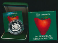 Australia :1991 $10 Tasmania Silver Proof in RAM Case with box, Coat of Arms