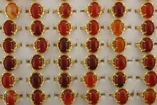 Mixed Lots 45pcs Red Agate Jewelry Gold P Copper Lady's Rings Wholesale Ring
