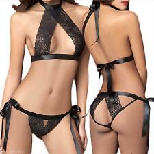 Women Lady Sexy Lingerie Intimates Suit Bundled Exposed Breast Bra+T-back Set