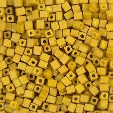 Miyuki Mustard 4mm Square (Cube) Glass Seed Beads Sold in a 20g Tube (H78/9)