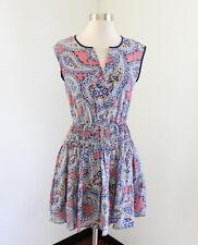 J Crew Mosaic Paisley Print Drop Waist Sleeveless Dress Size 00 Pink Blue