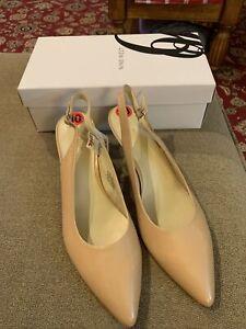 Nine West NW7GREATEST Leather Beige Tan Nude Heels Shoes (MR)