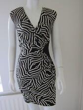 Ladies Black/cream Silk Print Party Dress By Whistles, Uk 8