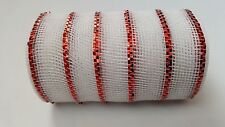 "6"" White with Red Stripes Deco Mesh Ribbon"