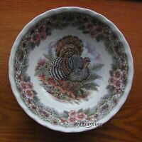 "QUEENS THANKSGIVING MULTICOLOR CHINA 6 3/8"" TURKEY SOUP & SALAD BOWL (S)"