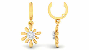 0,28 Cts Runde Brilliant Cut Diamanten Baumeln Ohrringe In 585 Solides 14K Gold