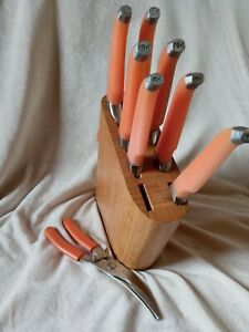 Rachael Ray Orange Furi Gusto Grip Chef Knife 8 Piece Set and Wood Block Holder