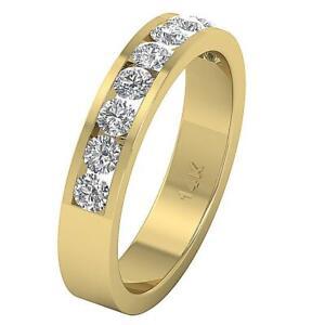 SI1 G Round Cut Diamond Wedding Anniversary Ring 1.20 Ct 14K Yellow Gold 4.30MM