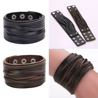 VS2# Fashion Wide Genuine Leather Bracelet Wrap Bangle Size Adjustable