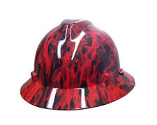 Hydrographic Red Fire MSA V-Guard Full Brim Hard Hat
