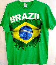 Team Brazil, Brazil Flag Logo, Mens T-Shirt, Size Large, 100% Cotton, New