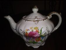 Musical Tea Pot Floral Pattern Gold Trim Plays TEA FOR TWO Vintage