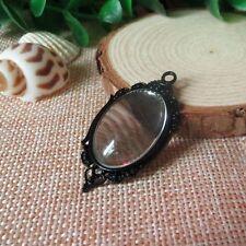6Sets Black Hollow Oval Bezel w/Glass Tile Cabochon-pendant Kit Charm 00190