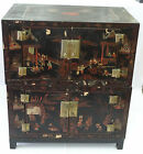 RARE 19c PAIR OF STACKED CHINESE LACQUER CHEST TRUNK CABINET HAND PAINTED