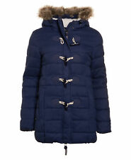 New Womens Superdry Tall Marl Toggle Puffer Nebraska Navy Herringbone
