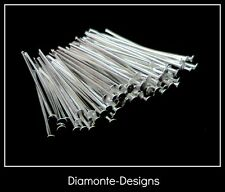 100 x 28mm Silver Plated Head Pins Jewellery Bead Craft Findings Beading W6