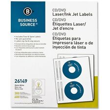 Business Source CD/DVD Labels Laser/inkjet 300/PK White 26149