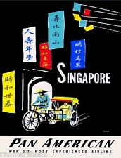 Singapore by Clipper Southeast Asia Asian Vintage Travel Advertisement Poster