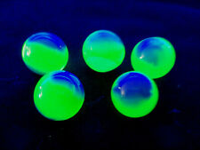 "5 Vintage blue & Yellow vaseline uranium glass marbles 1"" shooter"