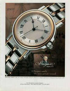 1994 Breguet 4107 Marine Roman Numeral Steel Gold Watch Vintage Print Ad