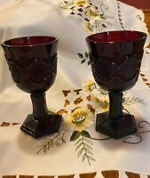 Avon 1876 Cape Cod Collection Ruby Red Elegant Wine Glass Set of 4