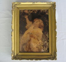 VICTORIAN ANTIQUE GIRL CHILD PRINT in ORIGINAL BUBBLE GLASS FRAME